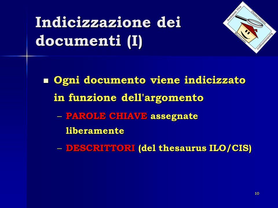 Indicizzazione dei documenti (I)