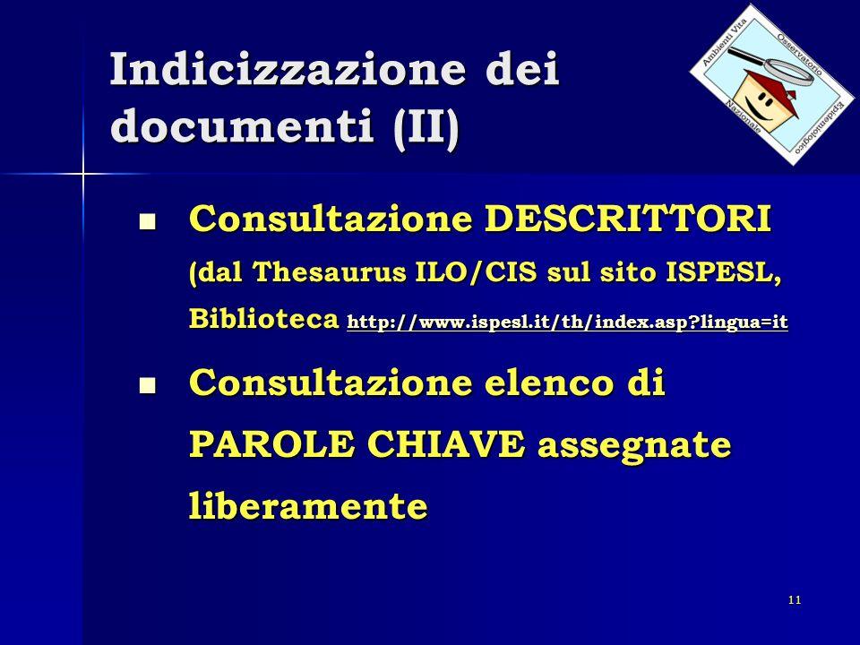 Indicizzazione dei documenti (II)