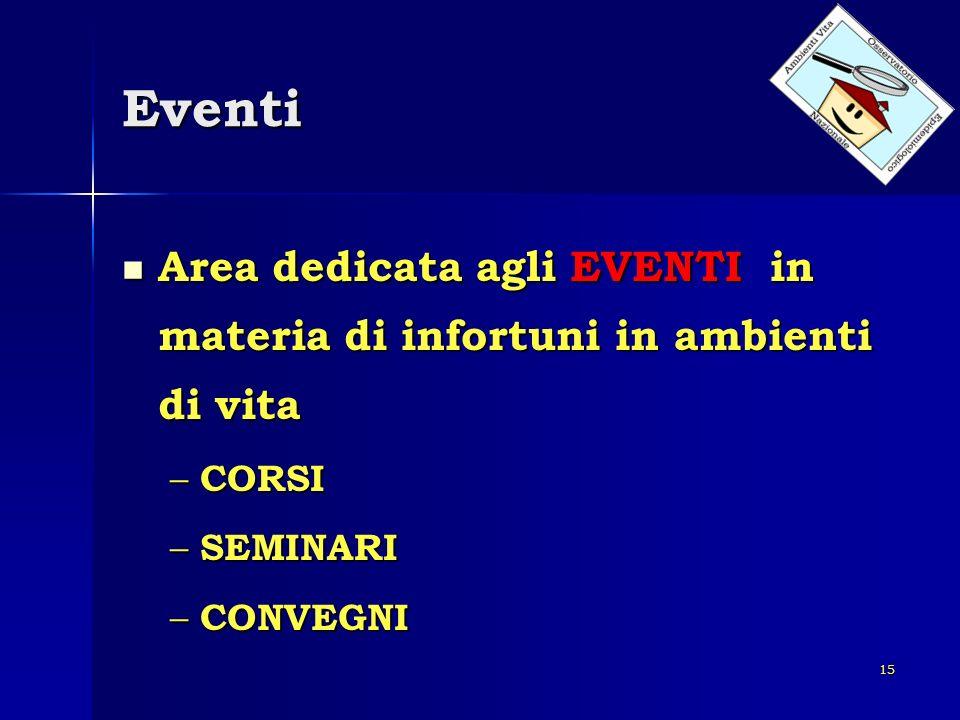 Eventi Area dedicata agli EVENTI in materia di infortuni in ambienti di vita.