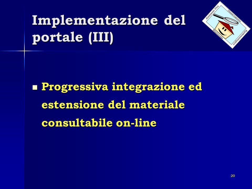 Implementazione del portale (III)