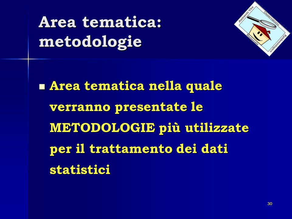 Area tematica: metodologie