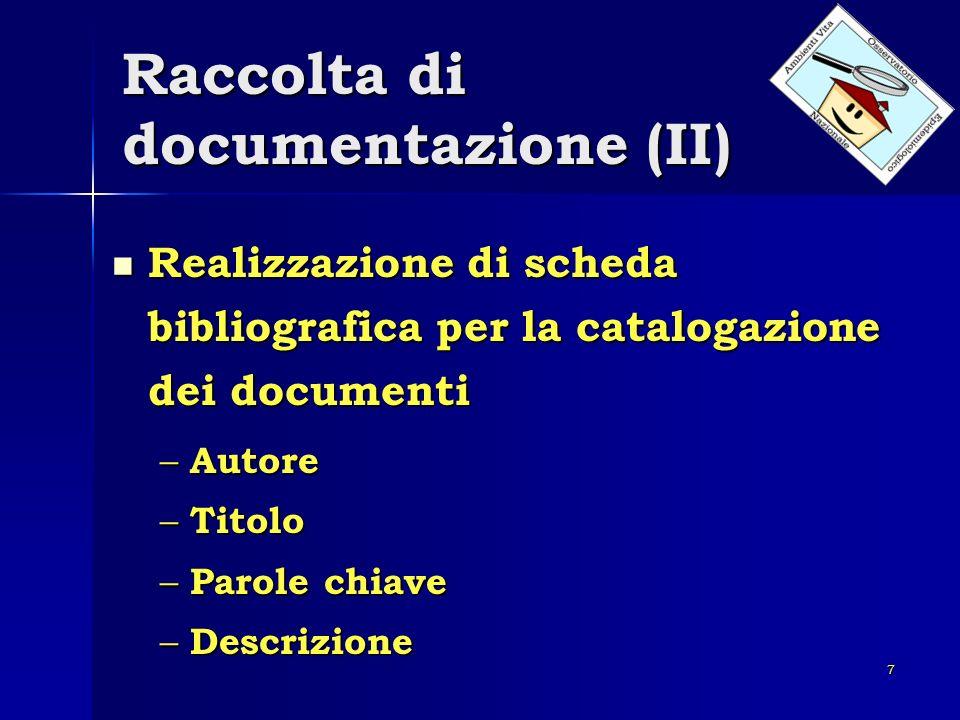 Raccolta di documentazione (II)
