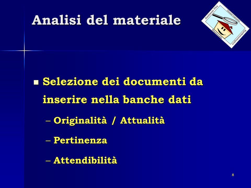 Analisi del materiale Selezione dei documenti da inserire nella banche dati. Originalità / Attualità.