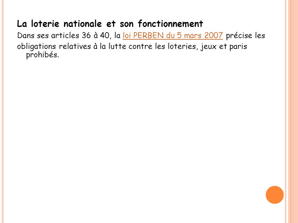 La loterie nationale et son fonctionnement