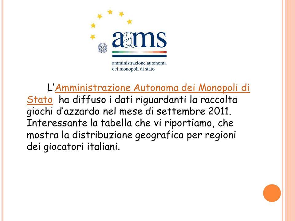 L'Amministrazione Autonoma dei Monopoli di Stato ha diffuso i dati riguardanti la raccolta giochi d'azzardo nel mese di settembre 2011.