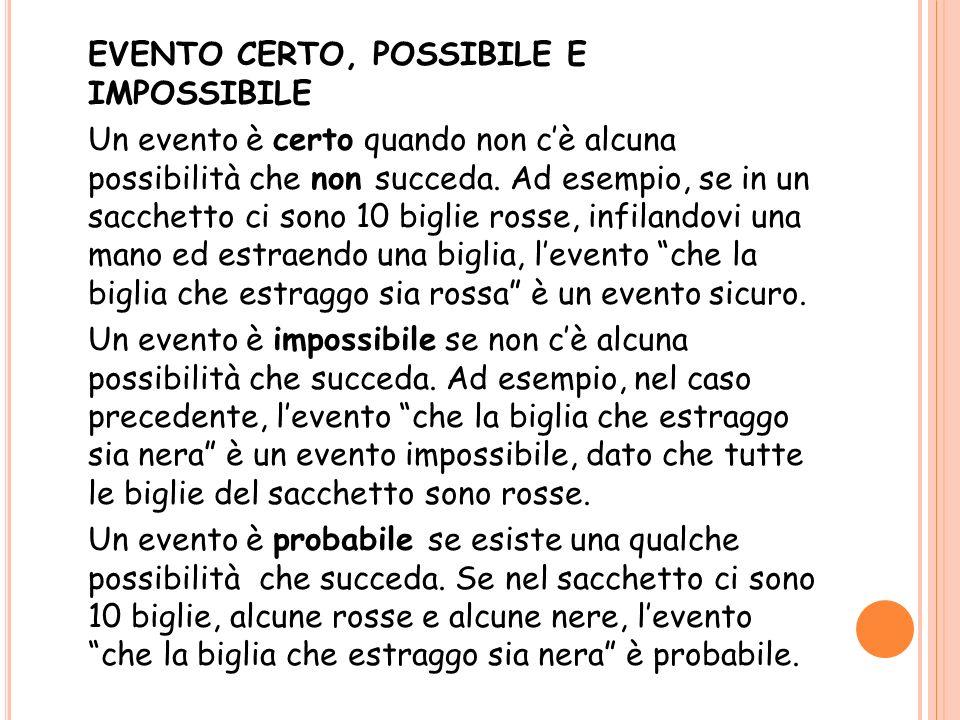 EVENTO CERTO, POSSIBILE E IMPOSSIBILE Un evento è certo quando non c'è alcuna possibilità che non succeda.