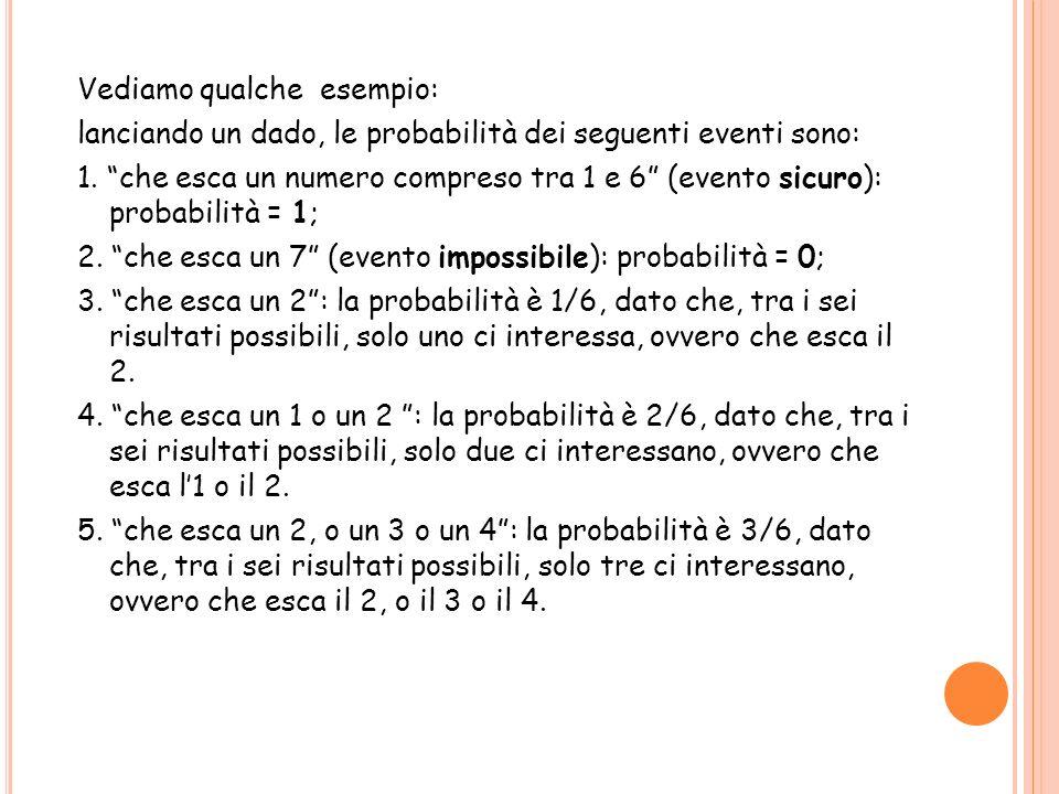 Vediamo qualche esempio: lanciando un dado, le probabilità dei seguenti eventi sono: 1.