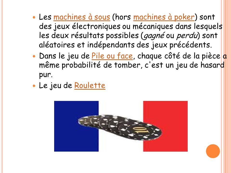 Les machines à sous (hors machines à poker) sont des jeux électroniques ou mécaniques dans lesquels les deux résultats possibles (gagné ou perdu) sont aléatoires et indépendants des jeux précédents.