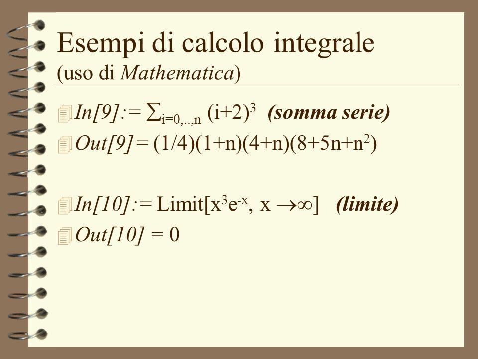 Esempi di calcolo integrale (uso di Mathematica)