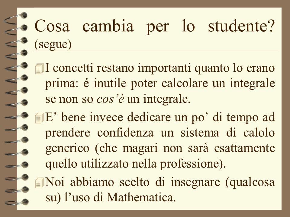 Cosa cambia per lo studente (segue)