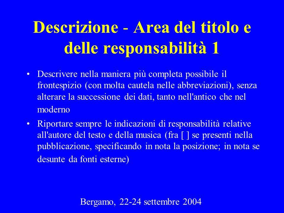 Descrizione - Area del titolo e delle responsabilità 1