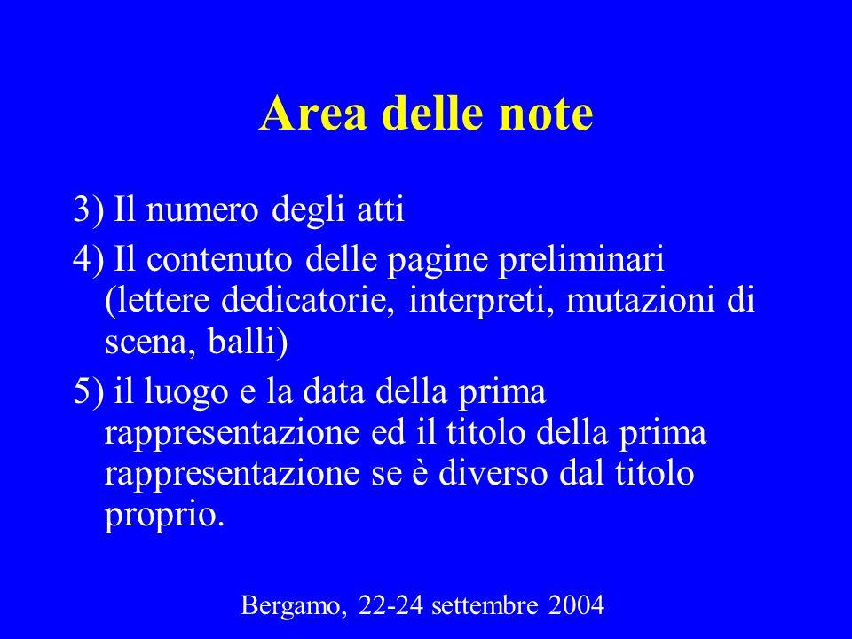 Area delle note 3) Il numero degli atti