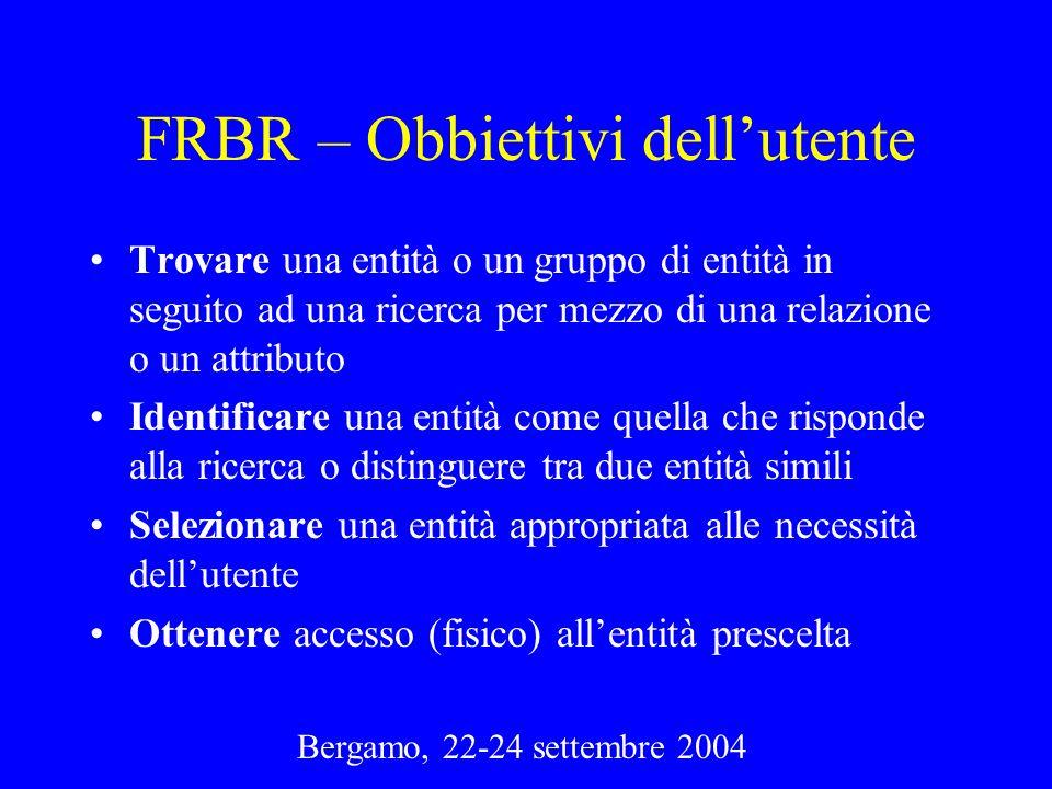 FRBR – Obbiettivi dell'utente