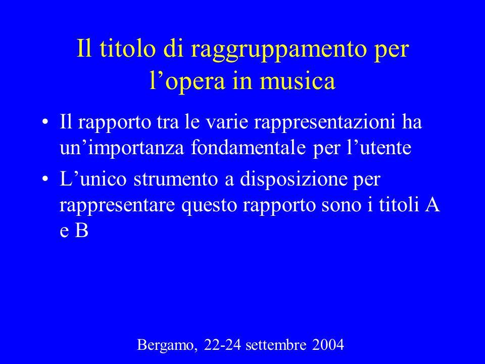 Il titolo di raggruppamento per l'opera in musica