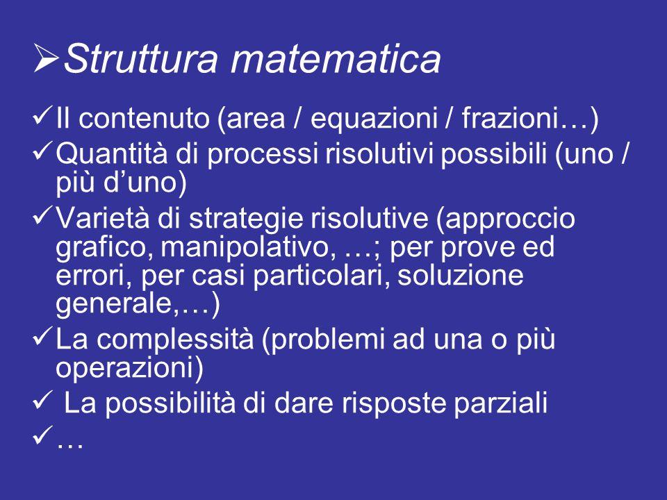 Struttura matematica Il contenuto (area / equazioni / frazioni…)
