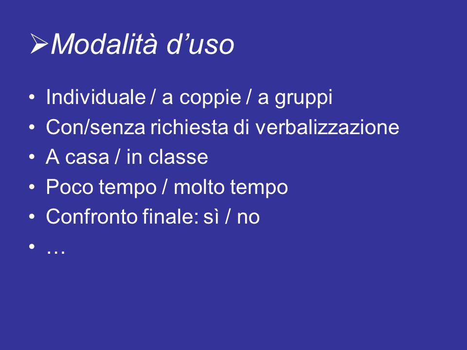 Modalità d'uso Individuale / a coppie / a gruppi