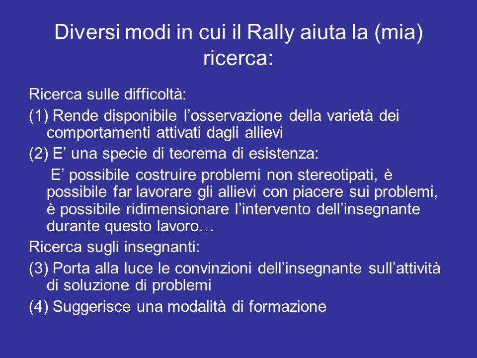 Diversi modi in cui il Rally aiuta la (mia) ricerca: