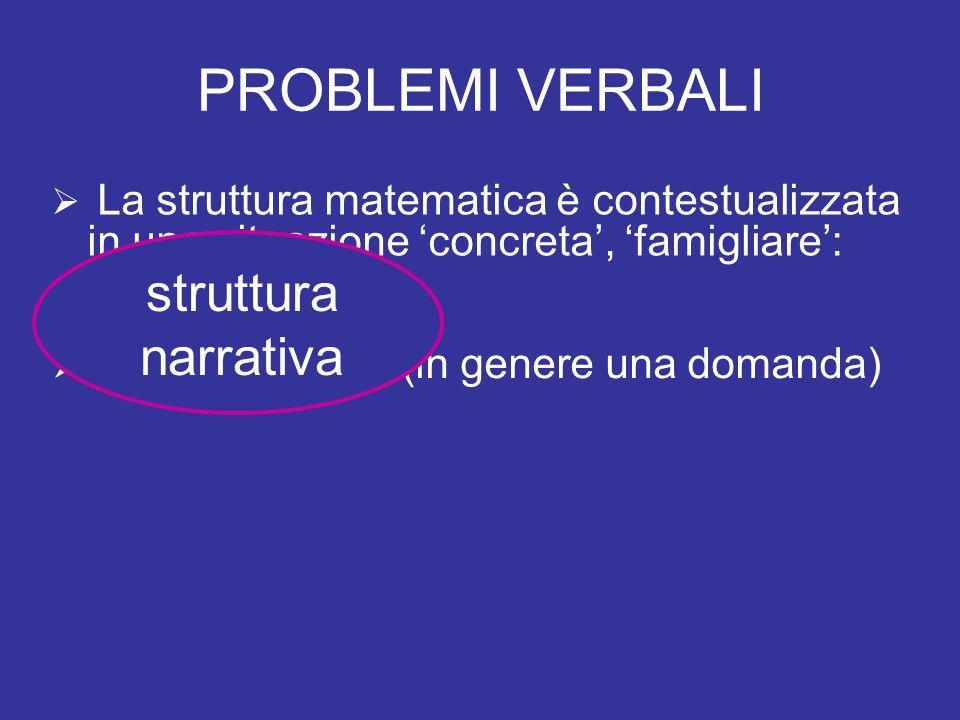 PROBLEMI VERBALI struttura narrativa il contesto
