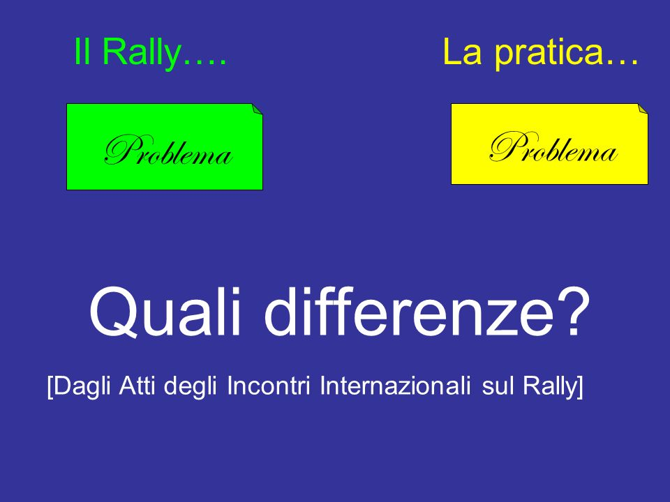 Quali differenze Problema Problema Il Rally…. La pratica…