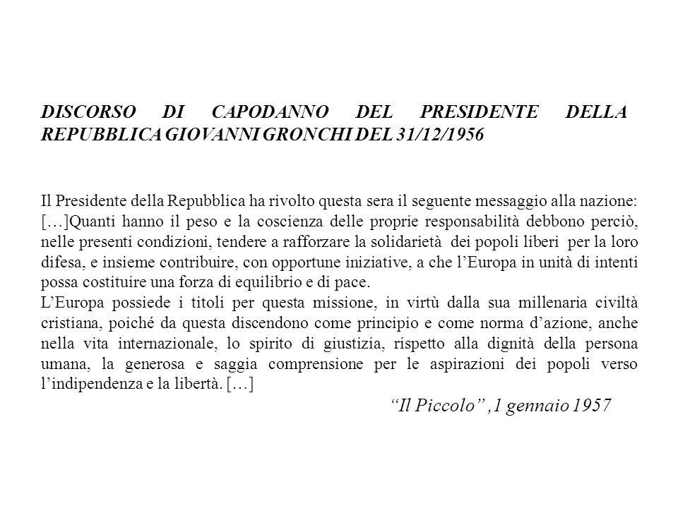 DISCORSO DI CAPODANNO DEL PRESIDENTE DELLA REPUBBLICA GIOVANNI GRONCHI DEL 31/12/1956.