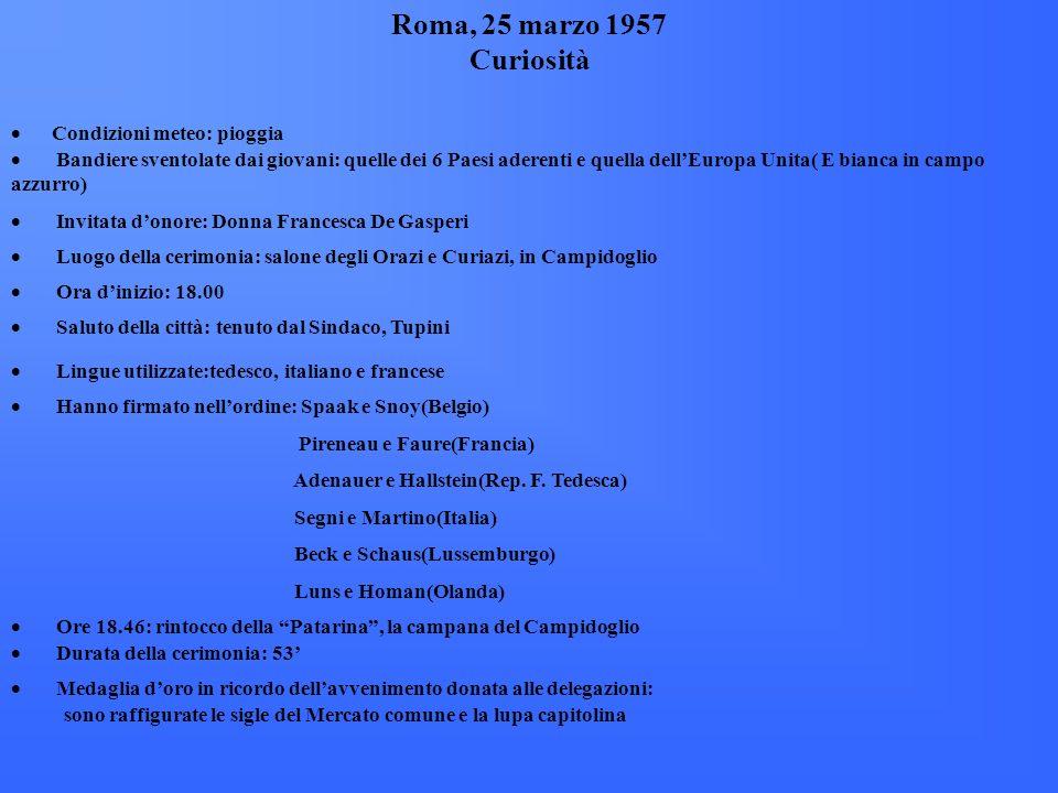 Roma, 25 marzo 1957 Curiosità · Condizioni meteo: pioggia