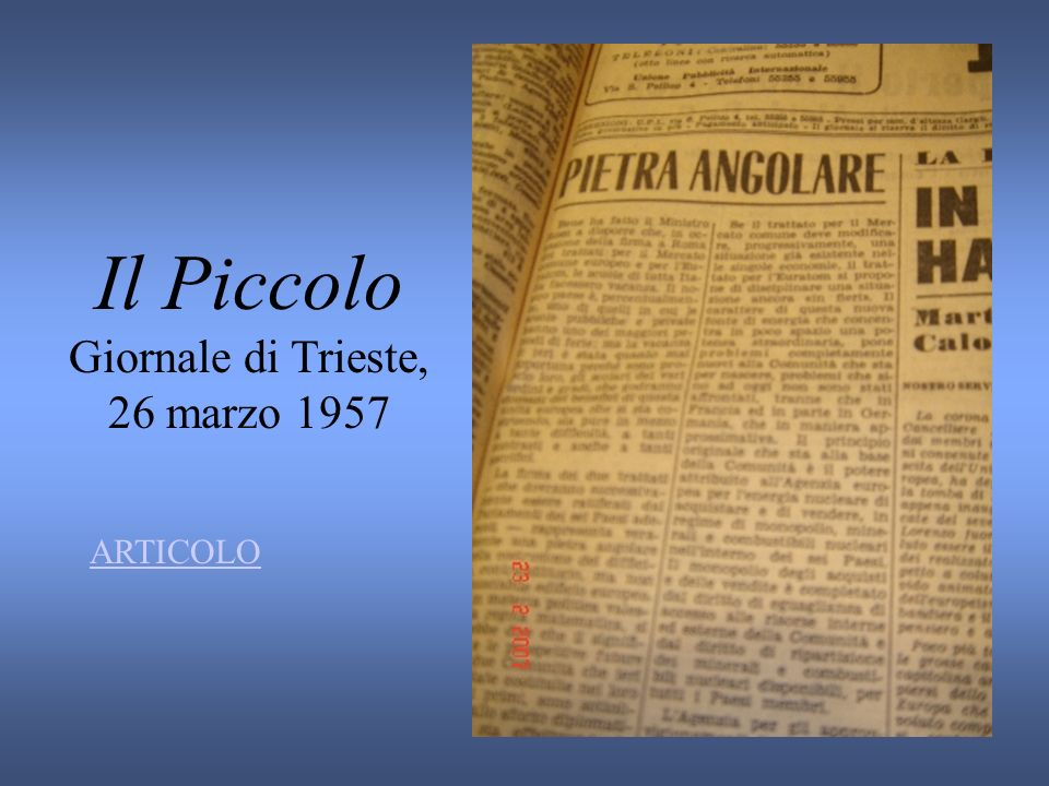 Il Piccolo Giornale di Trieste, 26 marzo 1957 ARTICOLO