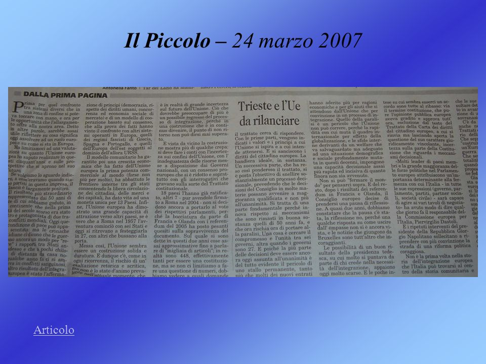 Il Piccolo – 24 marzo 2007 Articolo