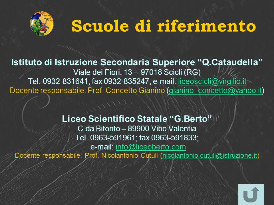 Scuole di riferimento Istituto di Istruzione Secondaria Superiore Q.Cataudella Viale dei Fiori, 13 – 97018 Scicli (RG)