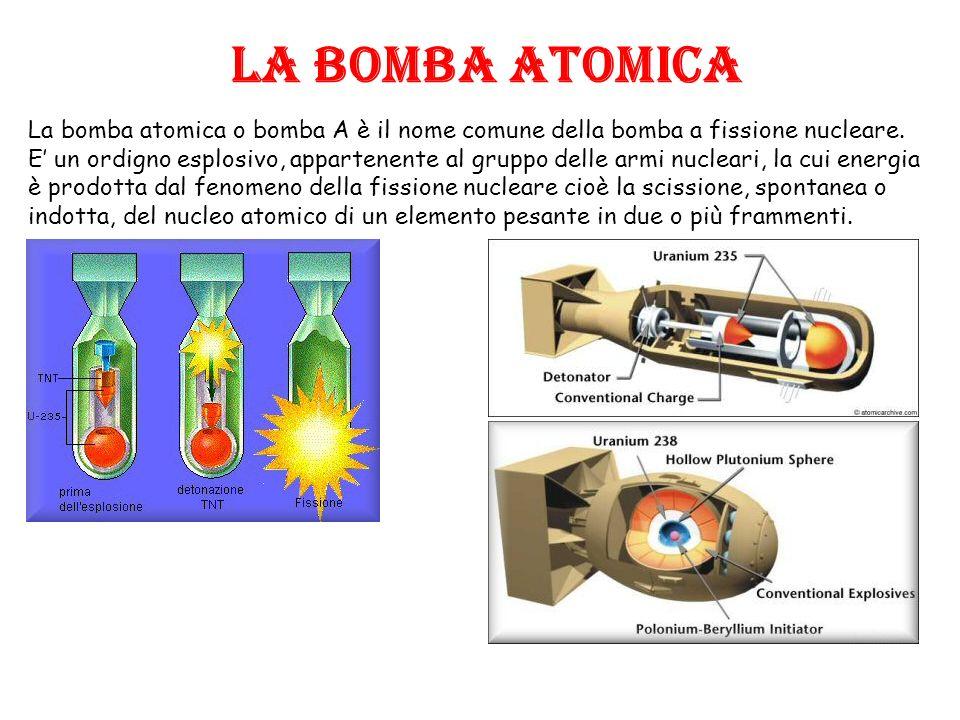 LA BOMBA ATOMICA La bomba atomica o bomba A è il nome comune della bomba a fissione nucleare.