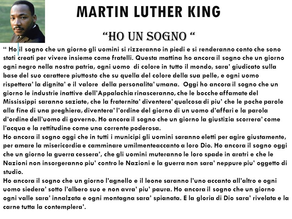 MARTIN LUTHER KING HO UN SOGNO