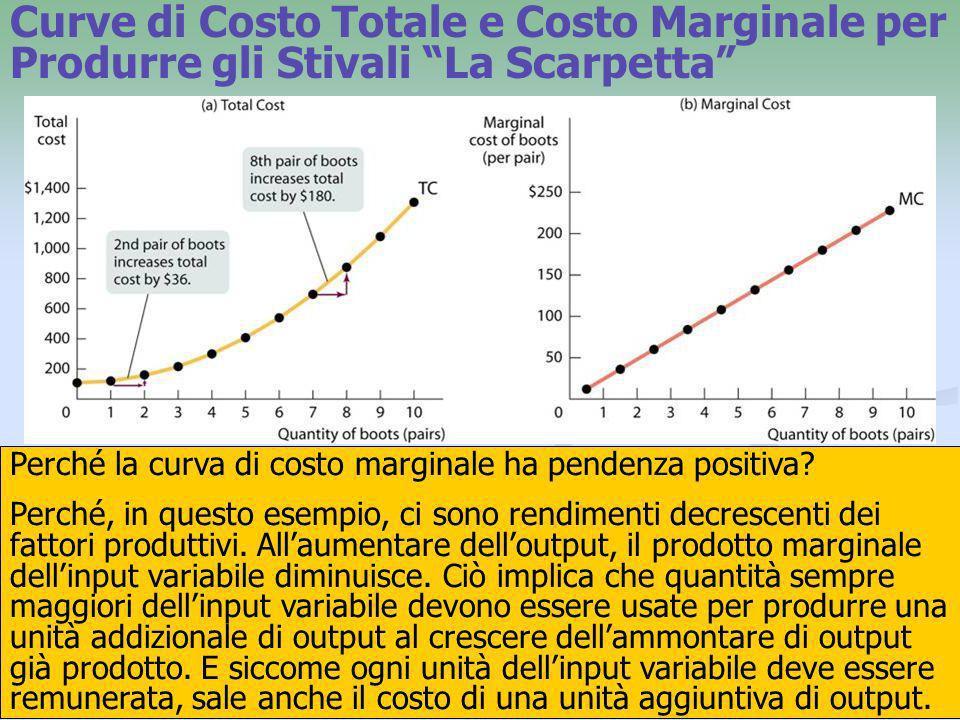Curve di Costo Totale e Costo Marginale per Produrre gli Stivali La Scarpetta