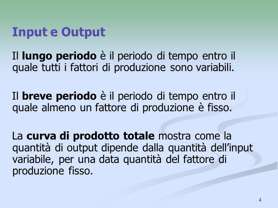Input e Output Il lungo periodo è il periodo di tempo entro il quale tutti i fattori di produzione sono variabili.