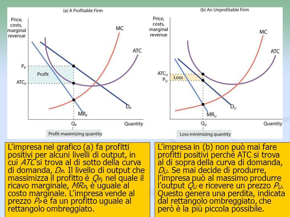L'impresa nel grafico (a) fa profitti positivi per alcuni livelli di output, in cui ATC si trova al di sotto della curva di domanda, DP. Il livello di output che massimizza il profitto è QP, nel quale il ricavo marginale, MRP, è uguale al costo marginale. L'impresa vende al prezzo PP e fa un profitto uguale al rettangolo ombreggiato.