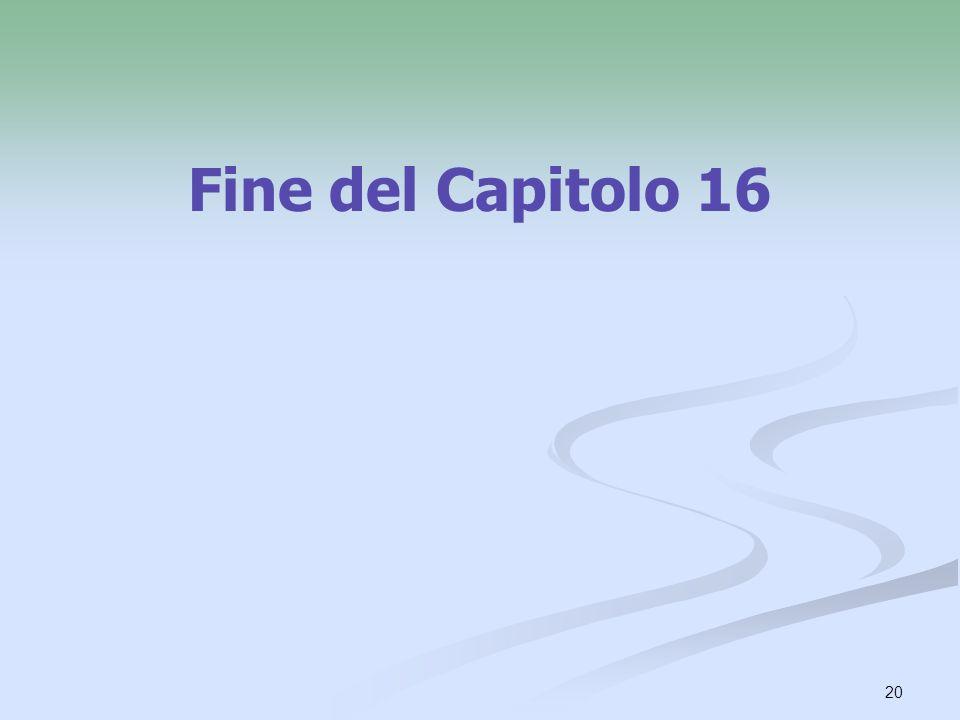Fine del Capitolo 16