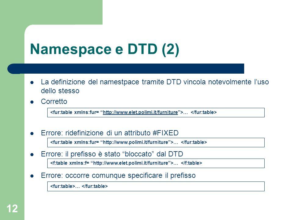 Namespace e DTD (2) La definizione del namestpace tramite DTD vincola notevolmente l'uso dello stesso.