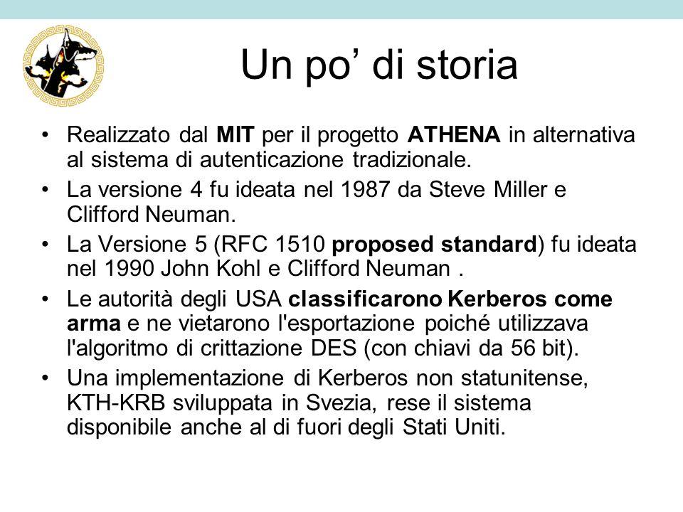 Un po' di storia Realizzato dal MIT per il progetto ATHENA in alternativa al sistema di autenticazione tradizionale.