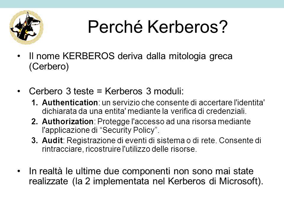 Perché Kerberos Il nome KERBEROS deriva dalla mitologia greca (Cerbero) Cerbero 3 teste = Kerberos 3 moduli: