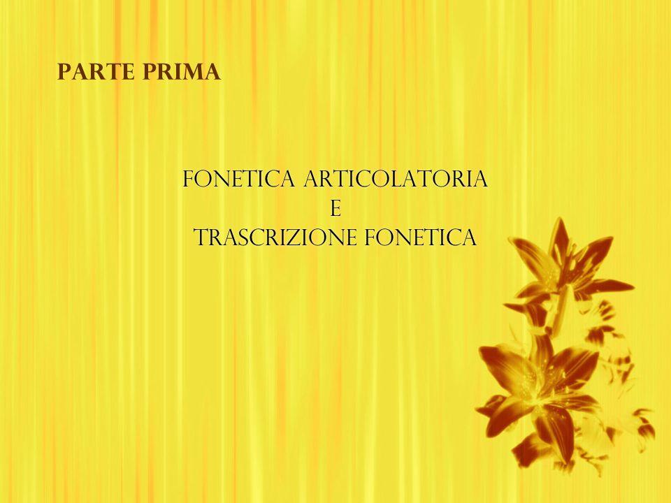 FONETICA ARTICOLATORIA E TRASCRIZIONE FONETICA