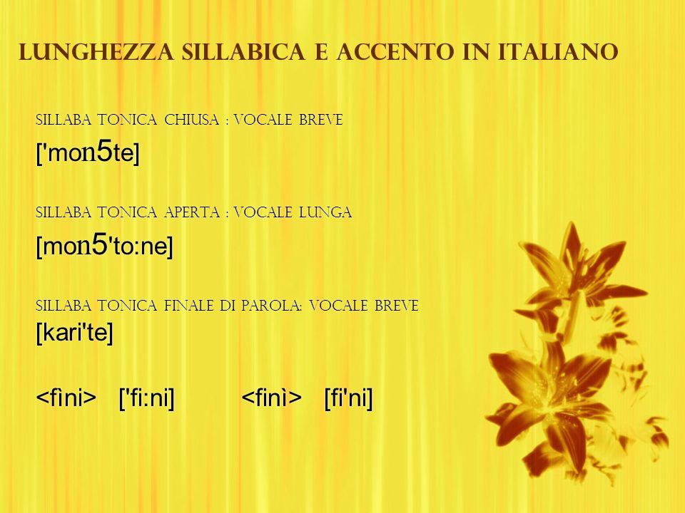 Lunghezza sillabica e accento in italiano