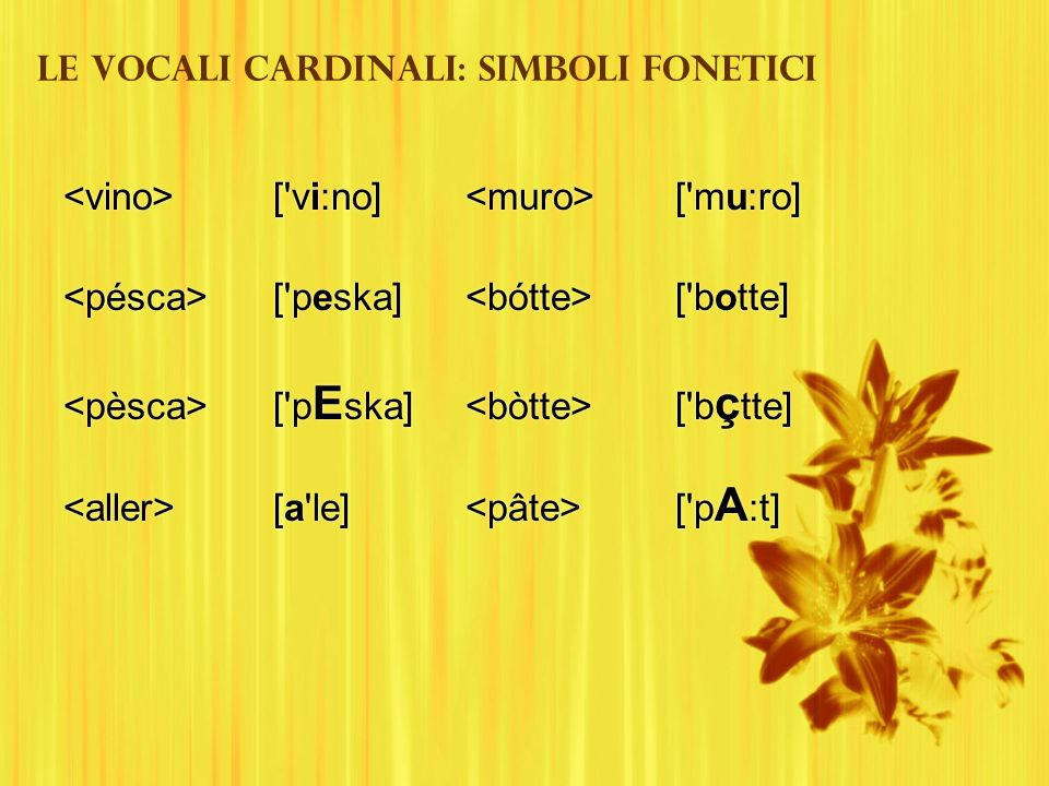 Le vocali cardinali: simboli fonetici