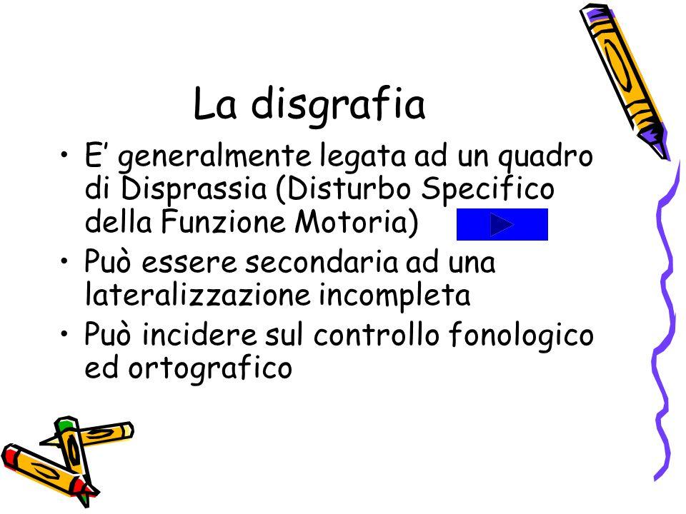 La disgrafia E' generalmente legata ad un quadro di Disprassia (Disturbo Specifico della Funzione Motoria)