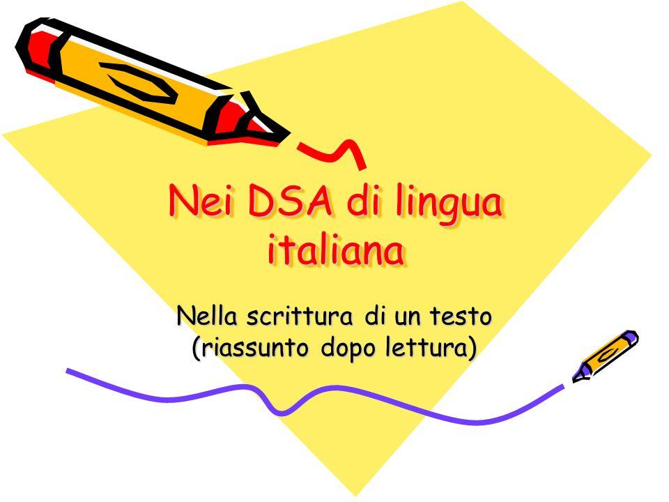 Nei DSA di lingua italiana