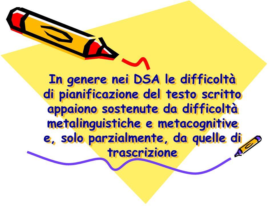 In genere nei DSA le difficoltà di pianificazione del testo scritto appaiono sostenute da difficoltà metalinguistiche e metacognitive e, solo parzialmente, da quelle di trascrizione