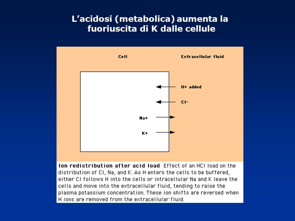 L'acidosi (metabolica) aumenta la fuoriuscita di K dalle cellule