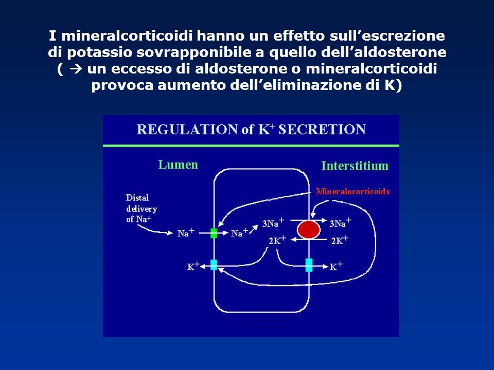 I mineralcorticoidi hanno un effetto sull'escrezione di potassio sovrapponibile a quello dell'aldosterone (  un eccesso di aldosterone o mineralcorticoidi provoca aumento dell'eliminazione di K)