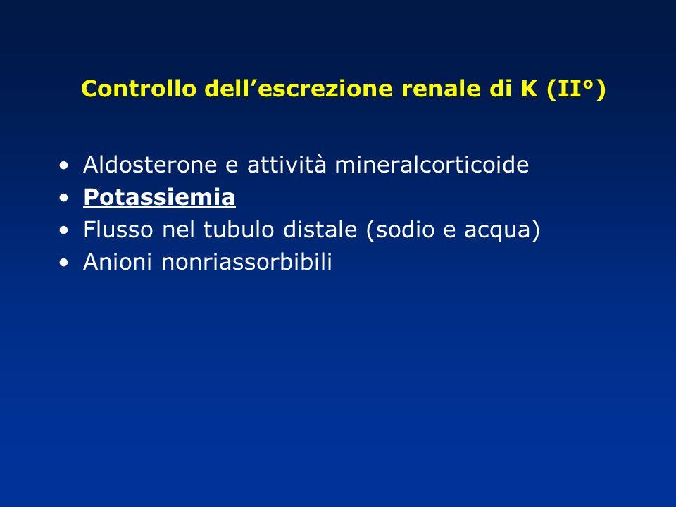 Controllo dell'escrezione renale di K (II°)