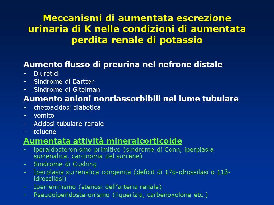 Meccanismi di aumentata escrezione urinaria di K nelle condizioni di aumentata perdita renale di potassio