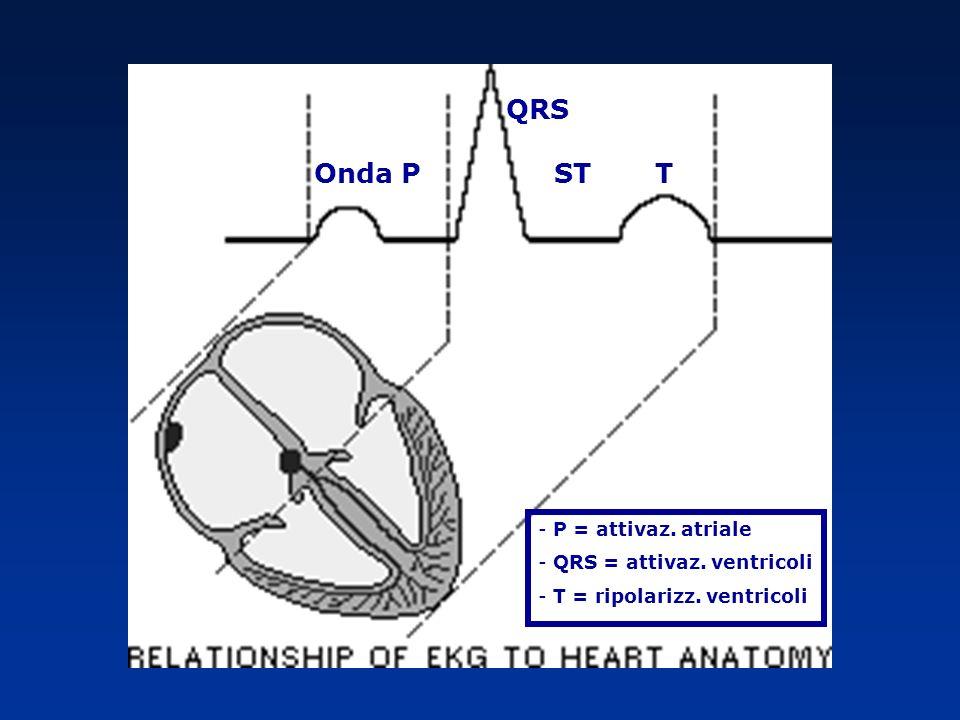 QRS Onda P ST T P = attivaz. atriale QRS = attivaz. ventricoli