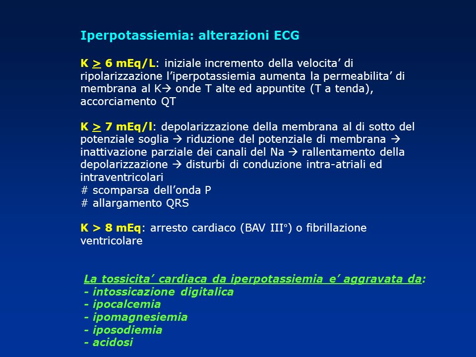 Iperpotassiemia: alterazioni ECG