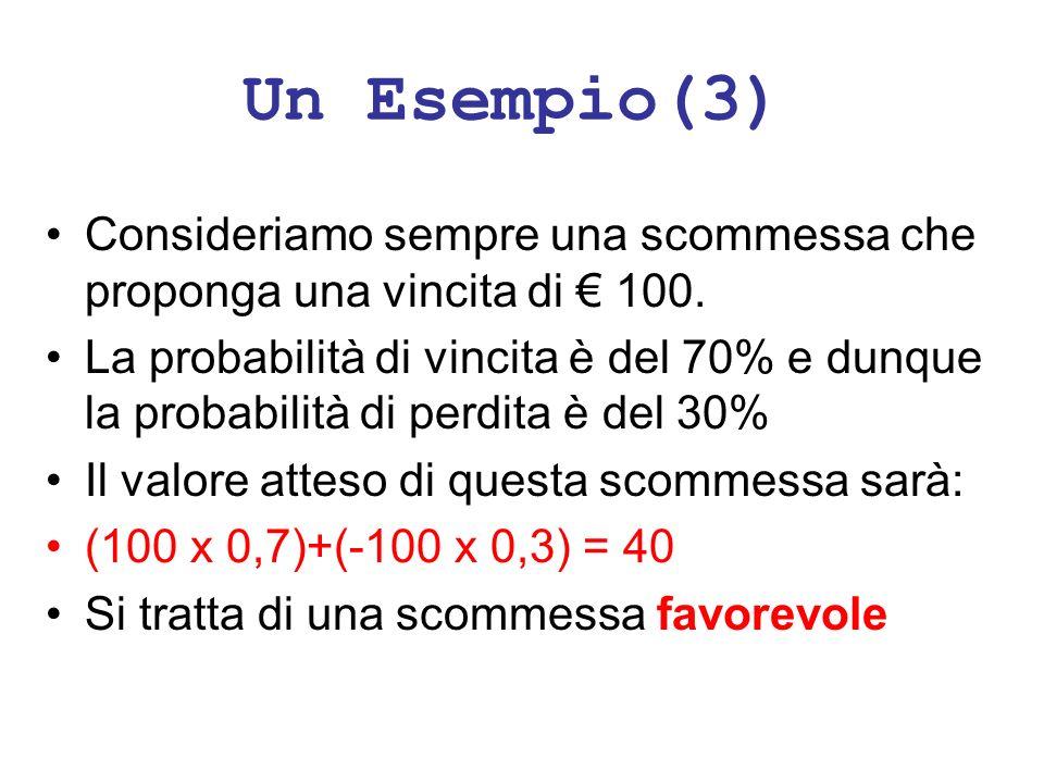 Un Esempio(3) Consideriamo sempre una scommessa che proponga una vincita di € 100.